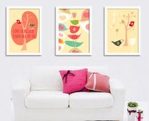 幸福鸟 装饰画实木有框画现代简约画客厅画餐厅画卧室画墙画挂画 价格:27.00