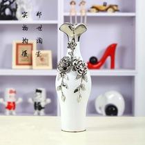 郑世精品 现代陶瓷 工艺摆件 纯白捏花镀银小花瓶 花插 002 价格:88.00