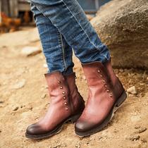真皮好质量头层牛皮圆头后拉链马蹄跟低跟千层底朋克风短靴子女鞋 价格:599.00