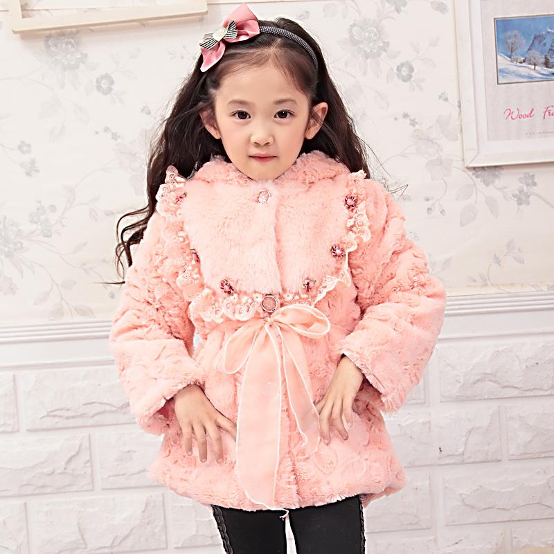 童趣喔喔新款童装儿童女童棉衣公主大衣毛毛棉衣外套冬装仿皮草 价格:89.00