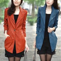 2013春秋装新款女装韩版修身显瘦中长款pu水洗皮衣西装女大码外套 价格:168.00