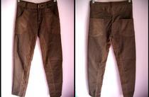 专柜正品ebase衣本色棕色拼接灯芯绒复古小脚裤铅笔裤 价格:90.00