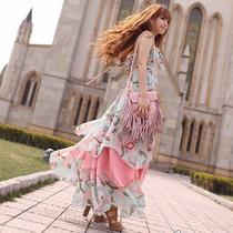 春装连衣裙超长波西米亚长裙欧美过膝连衣裙沙滩裙显瘦礼服裙子 价格:56.00