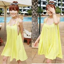 2012韩版 宽松吊带连衣裙 女 夏装 沙滩裙 度假裙 比基尼外罩裙 价格:28.00