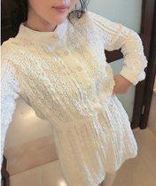 2014春装新款韩版甜美森系珍珠扣收腰长袖全蕾丝连衣裙女装 价格:82.00