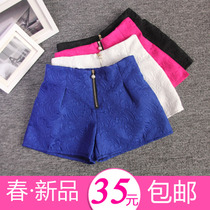2014新款春装女装欧美简约中高腰打底百搭小清新短裤时尚修身包邮 价格:35.00