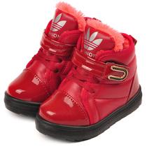 四冠高梆皮鞋 加绒系带宝宝童鞋 魔术贴儿童保暖鞋 2-4岁婴儿皮鞋 价格:46.48