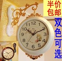 【聚】正品yisen欧式实木大号丽声机芯精致双面钟双面挂钟 价格:266.00
