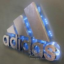 led发光字 不锈钢背打灯字 广告招牌制作 形像墙发光字adidas 价格:4.50