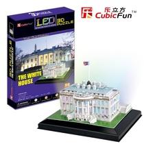 乐立方3D立体拼图 DIY小屋 美国白宫 带LED灯送T4012泰坦尼克包邮 价格:83.00