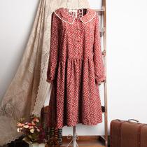 森女韩版女装春夏新款 娃娃领碎花九分袖雪纺收腰连衣裙 B383-91 价格:68.00