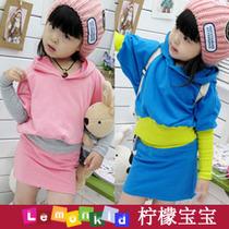 柠檬宝宝 韩女童秋装 纯棉蝙蝠袖T恤短裙休闲套装 可爱女孩两件套 价格:30.00