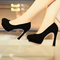 2014新款女鞋超高跟鞋春季单鞋女防水台欧美气质女鞋厚底马蹄跟女 价格:268.00