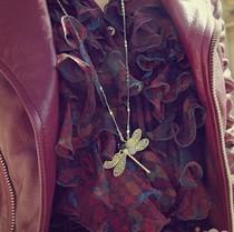 韩国韩版时尚饰品呛口小辣椒百搭蜻蜓项链女长款毛衣链特价正品 价格:12.80