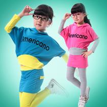 童装女童春秋装2013新款韩版儿童运动服套装女孩中大童夏装蝙蝠衫 价格:48.00
