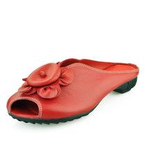 佛儿思特2013春季新品真皮鱼嘴鞋女鞋休闲绣花透气低跟拖鞋凉鞋 价格:158.00