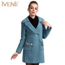 依维妮 2013冬款新款通勤英伦修身显瘦长袖毛呢大衣女外套1152012 价格:300.00