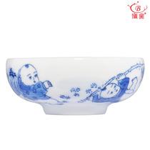 博窑 陶瓷手绘童子茶杯 功夫茶具品茗杯 荷花 莲藕 普洱茶杯 价格:105.00