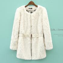 2013冬装新款韩版女装甜美圆领长袖中长款修身仿皮草外套AJ478 价格:132.05