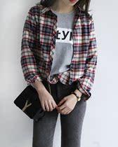 七喜小姐独家定制韩国春装女装新款英伦复古格子修身大码衬 衬衣 价格:79.00