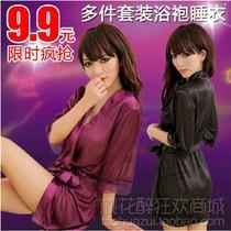 夏季优雅高贵仿真丝女家居服半透明性感睡袍温泉浴袍睡衣诱惑套装 价格:9.90