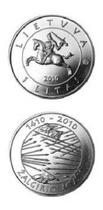 立陶宛 2010 格伦沃尔德战役600周年 1立特 纪念币 价格:8.00