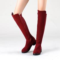 纽西塔正品春季新款真皮女长靴子侧拉链弹力靴保暖雪地鞋过膝靴 价格:128.00