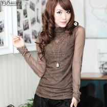 秋装新款网纱打底衫长袖 加绒加厚蕾丝高领打底衫女士修身长袖t恤 价格:99.00