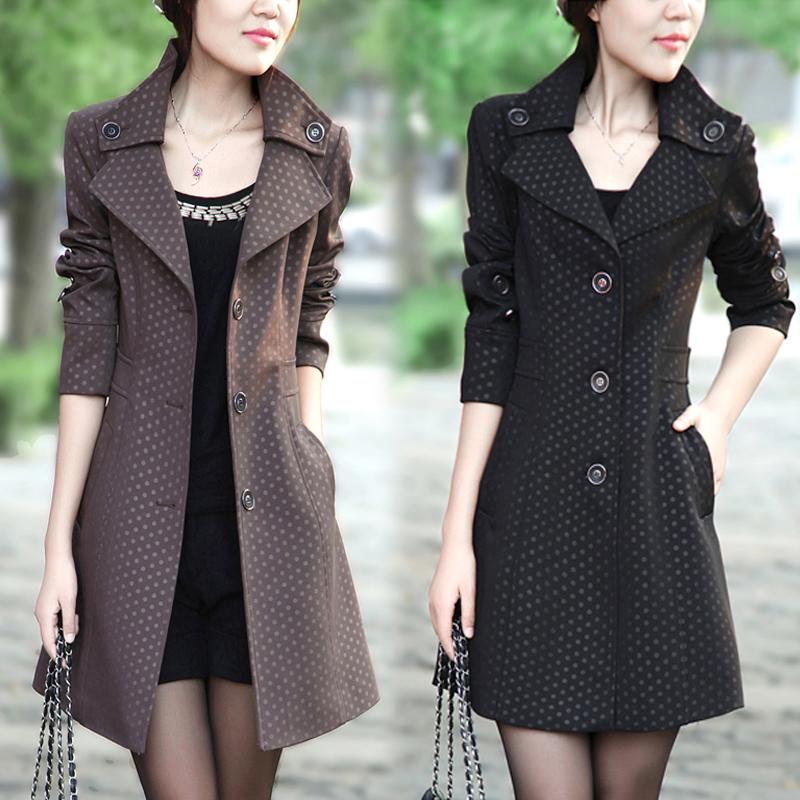 2013春季新款OL通勤长款翻领修身显瘦长袖女式风衣外套春秋有大码 价格:178.00