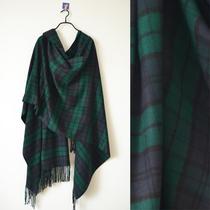 维多利亚的秘密超长流苏围巾可做披肩 男女通用 深绿和巧克力格子 价格:79.00