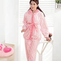 莎倩秋冬季女款加厚保暖珊瑚绒睡衣加大码可爱圆点新品套装家居服 价格:69.00