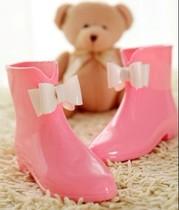 2013精品新款韩版vivi可爱蝴蝶结时尚雨鞋 平底舒适女雨靴水鞋 价格:30.00
