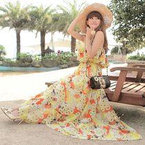 夏日清新 正品MISSFOX一字抹胸波西米亚连衣裙沙滩裙长裙 黄橘红 价格:109.00