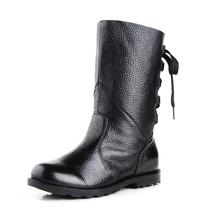 2013春秋季韩版新款单靴牛皮鞋马丁靴平跟中靴真皮女靴平跟短靴子 价格:99.80