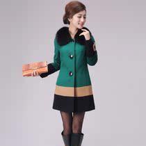厂家批发2013冬装新款品牌女装狐狸毛领羊绒大衣妮子外套 价格:1198.00