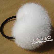 安桃小屋 狐狸毛耳套/耳罩/耳包/耳套 女 可爱白色狐狸毛耳套 价格:188.00