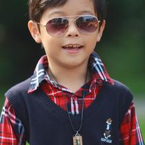 2013春装男童装 学院风假两件红格长袖毛衣线衫 男童针织 价格:64.89
