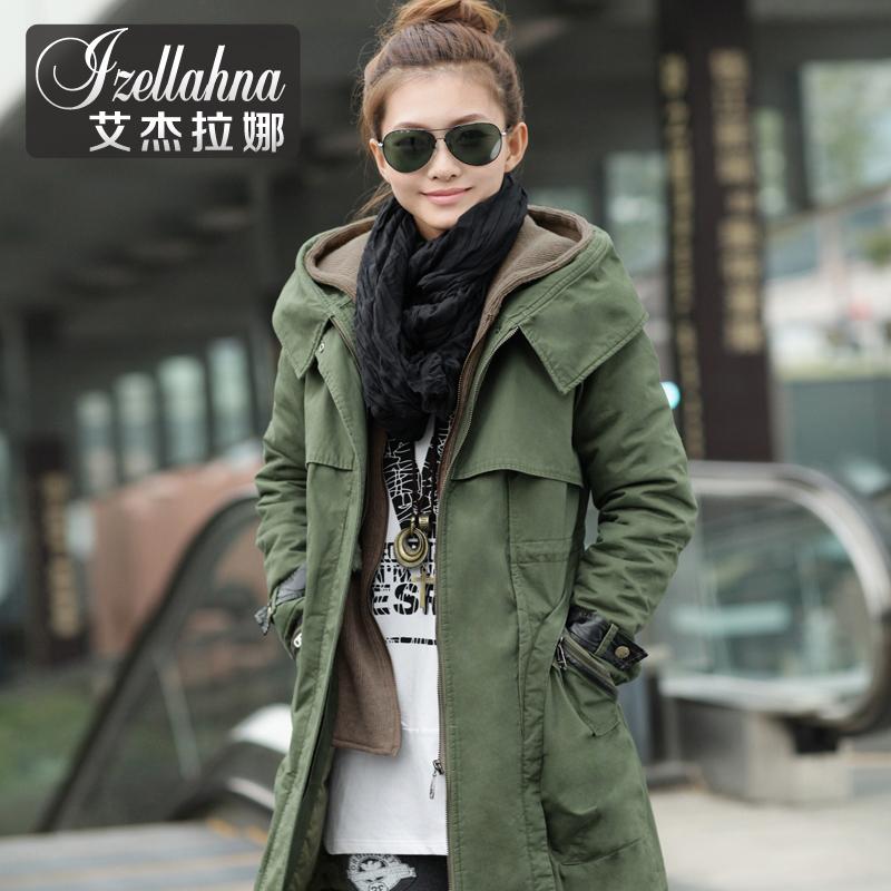 艾杰拉娜 2013秋冬装新品韩版厚外套休闲中长款假两件棉服棉衣 女 价格:238.00