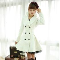 韩版修身秋装新款女白色斜纹纱裙摆双排扣羊毛大衣厚毛呢外套冬装 价格:248.00