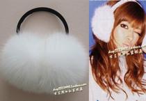 白色超大狐狸毛耳套皮草护耳精舞门耳罩耳捂子耳暖可爱女式冬滑雪 价格:198.00