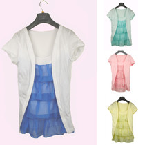 浪漫一身 2013专柜正品夏装代购 韩版假两件短袖 雪纺衫上衣女装 价格:48.00