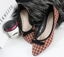 韩版新款 OL百搭 色拼接蝴蝶结浅口尖头平底单鞋 女鞋 格子鞋 价格:65.00