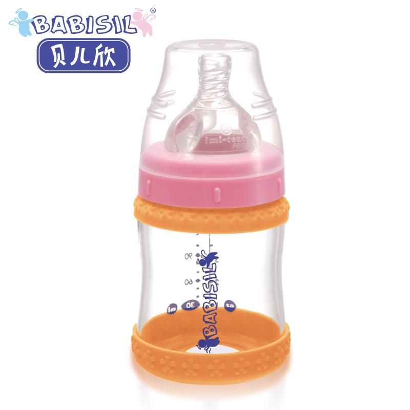 贝儿欣 宝宝奶瓶宽口径玻璃奶瓶BS4620奶瓶感温防滑120ml婴儿奶瓶 价格:77.40
