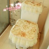韩国高档蕾丝滚边 田园马桶三件套 坐便套马桶垫  椭圆方形马桶套 价格:38.00