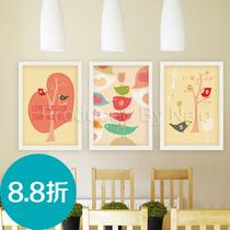 幸福鸟| 限时88折 三联现代有框画装饰画挂画壁画墙画|餐厅客厅 价格:42.24