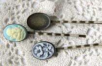 古铜色 铜一字发夹 13x25mm 宝石托盘 价格:2.00