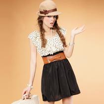 �劭幛巫� 包邮 夏季清凉气质甜美圆点缩腰洋装连衣裙子 价格:52.65