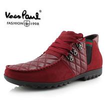 沃尔保罗冬季新款时尚潮流休闲韩版高帮男式棉鞋真皮格纹牛皮男鞋 价格:418.00
