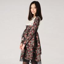 正品无有无印2013秋季女装 单件淑女通勤高腰荷叶边裙中裙连衣裙 价格:154.05