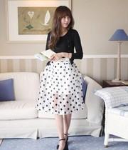 2014春新款韩国官网代购正品女装时尚复古点点蓬蓬中裙 价格:238.00